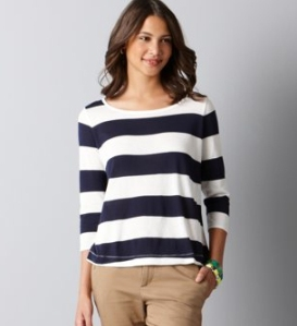 loft blue and white stripped sweater