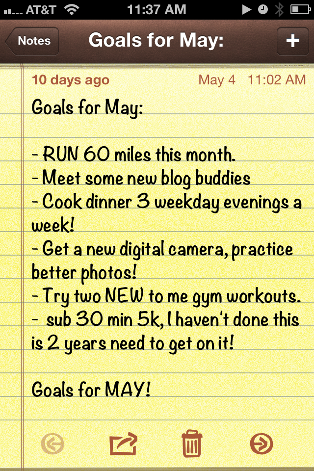 Health Goals for MAY
