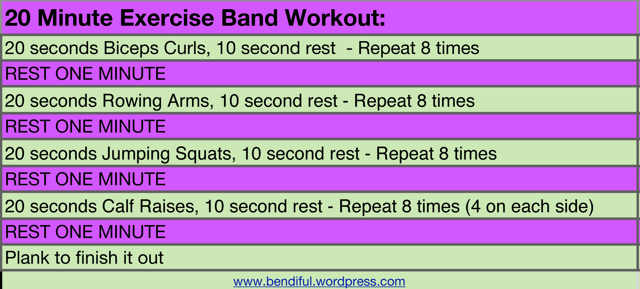 Exercise Band Workout from Bendifulblog.com